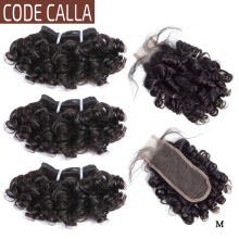 Hair-Bundles Closure Human-Hair-Extensions Calla Bouncy Curly Indian Remy Short Code