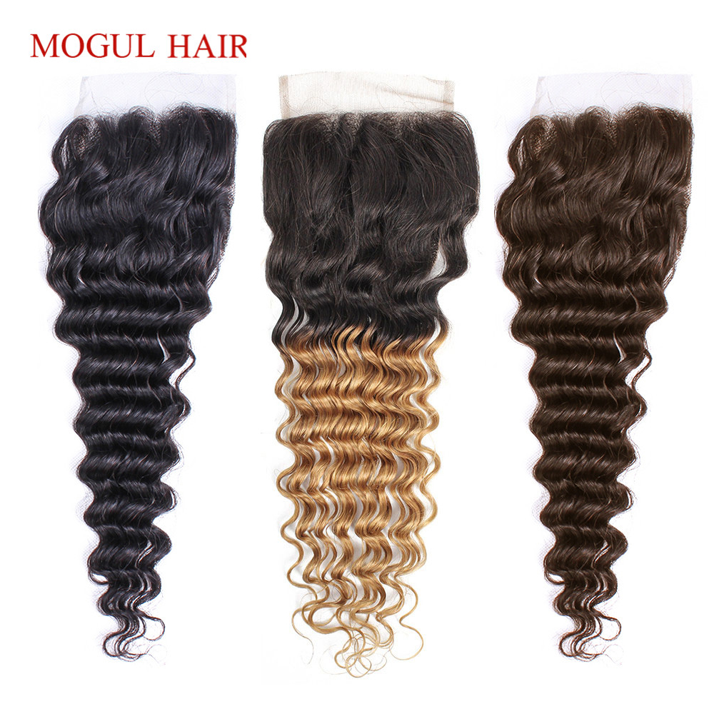 MOGUL HAIR Deep Wave 4*4 Lace Closure Natural Color 2 Color 4 Dark Brown 1B 27 Ombre Honey Blonde Indian Non Remy Human Hair
