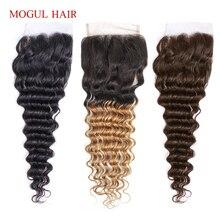 MOGUL włosy głęboka fala 4*4 zamknięcie koronki naturalny kolor 2, 4 ciemny brąz 1B 27 Ombre miód blond indyjskie ludzkie włosy Remy