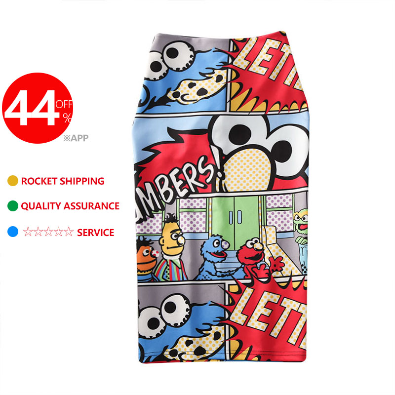 Image 5 - Women's high waist slim cartoon letter print bag hip bodycon Tube skirt summer knee high elastic pencil skirts Falda WA525-in Skirts from Women's Clothing