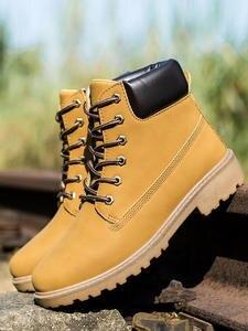 Winter Boots Work-Shoes Ankle Plus-Size Men Lace-Up Hot Fur Pu Warm-Plus