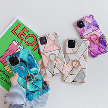 Hot Luxury Plating Marble Ring Hoder Phone Cases for iPhone 11 Pro Max Case Cover For iPhone XR XS Max X 7 8 6 6S Case Coque laser marble finger ring holder phone cases for iphone 11 pro max case cover funda for iphone 7 8 6 6s plus xs max xr case coque