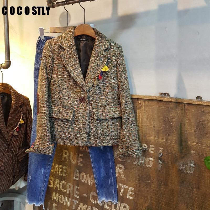 Korean Style Wool Blazer Women Jacket Autumn Winter Vintage Plaid Suit For Woman Casual Long Sleeve Single Button Slim Blazers