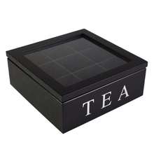 Wooden 9 Grids Tea Box Tea Bags Container Storage Box Square Gift Box Case Transparent Top Lid Jewelry Storage Box-Black 85 grids wooden essential oil box solid wood case frame aromatherapy bottle storage large storage box pine handmade