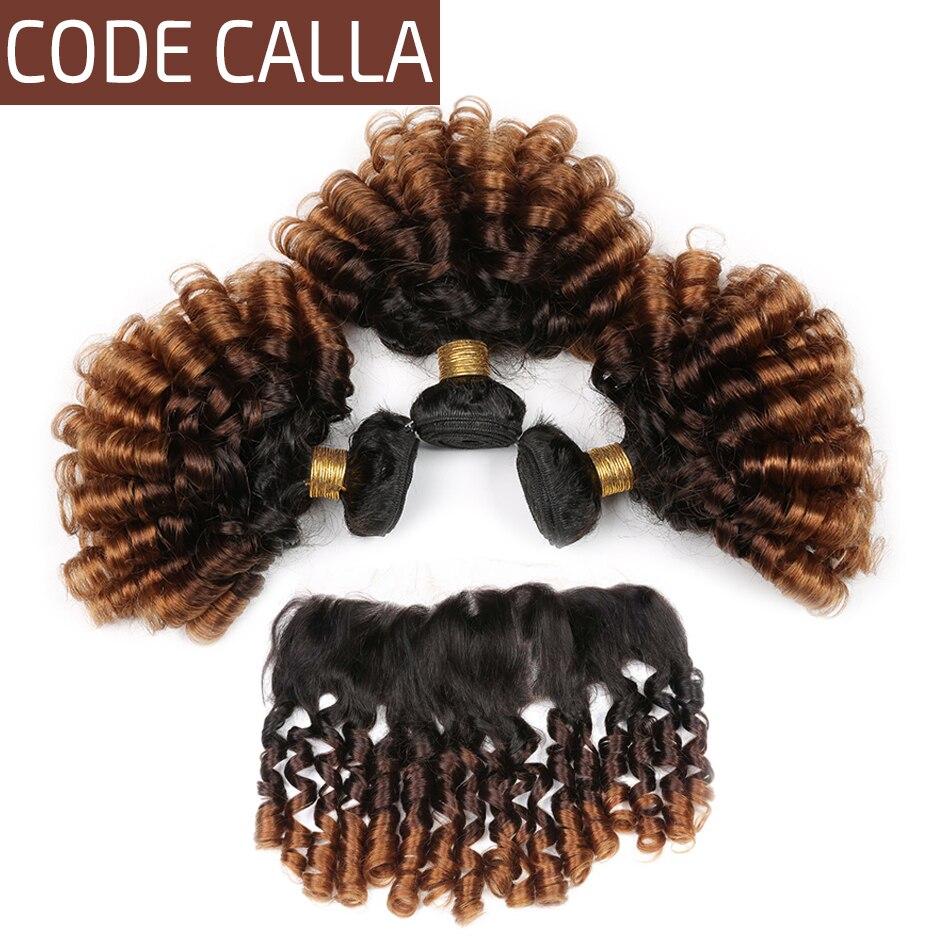 Código de Calla Cor Ombre Saltitante Encaracolado Pacotes Com 13*4 Lace Frontal Free Parte Brasileiro Virgem Cru 100% Não Transformados cabelo humano