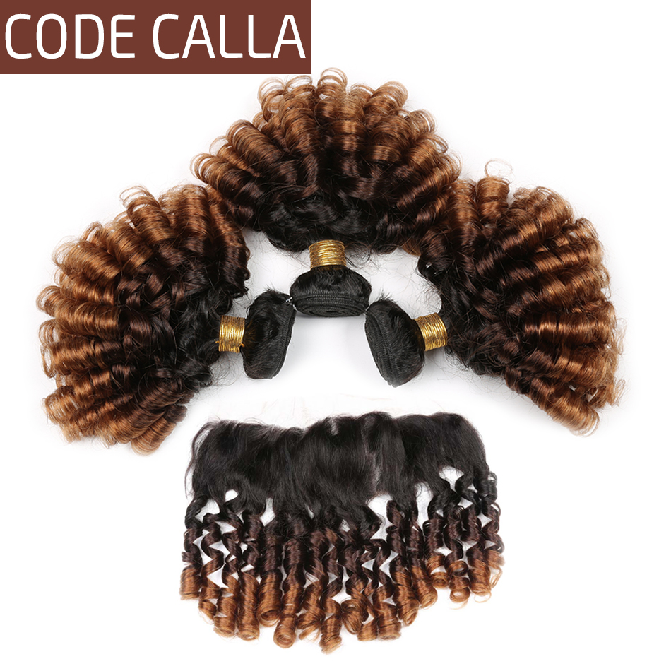 Code Calla Remy Ombre Color Bouncy Curly Hair Bundles With Lace Frontal Ear To Ear Free Part Brazilian 100% Human Hair Weaving