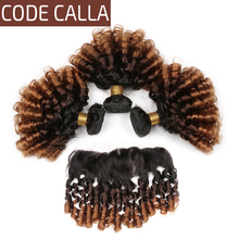 Code Calla Remy Ombre Color Bouncy Curly Hair Bundles With Lace Frontal Ear To Ear Free Part Brazilian 100% Human Hair Weaving стоимость