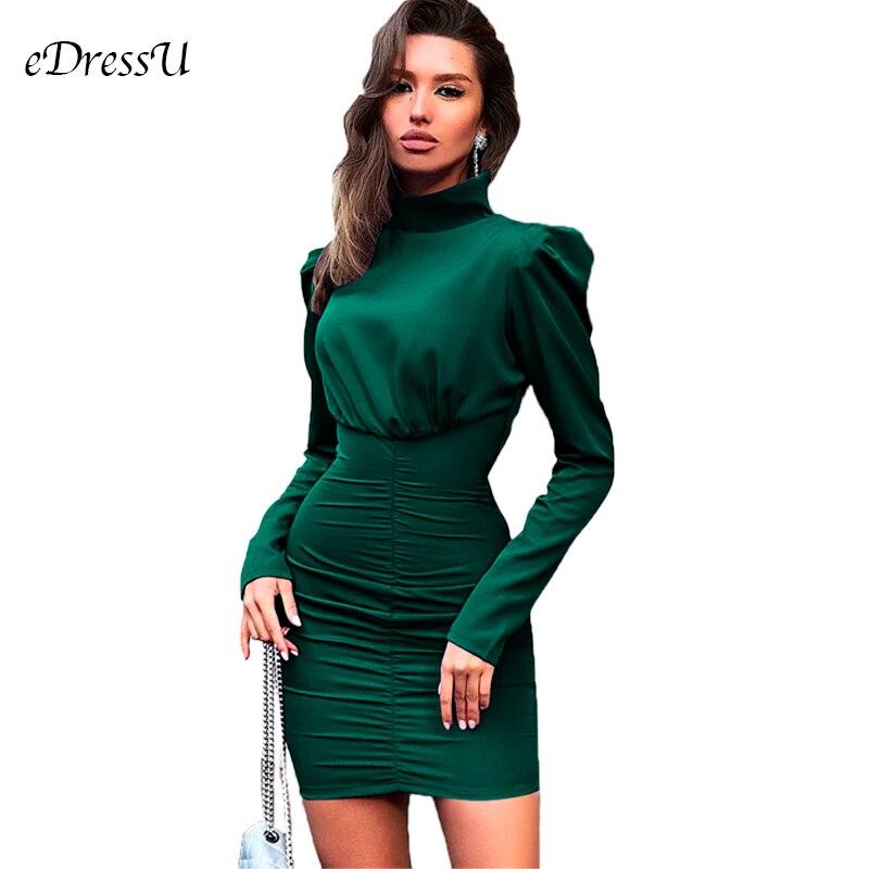 Sexy Women Dress Turtleneck Green Bandage Bodycon Dress Vestido de Fiesta Noche Long Sleeve Short Dress Club Disco Dress MC 2926Dresses   -
