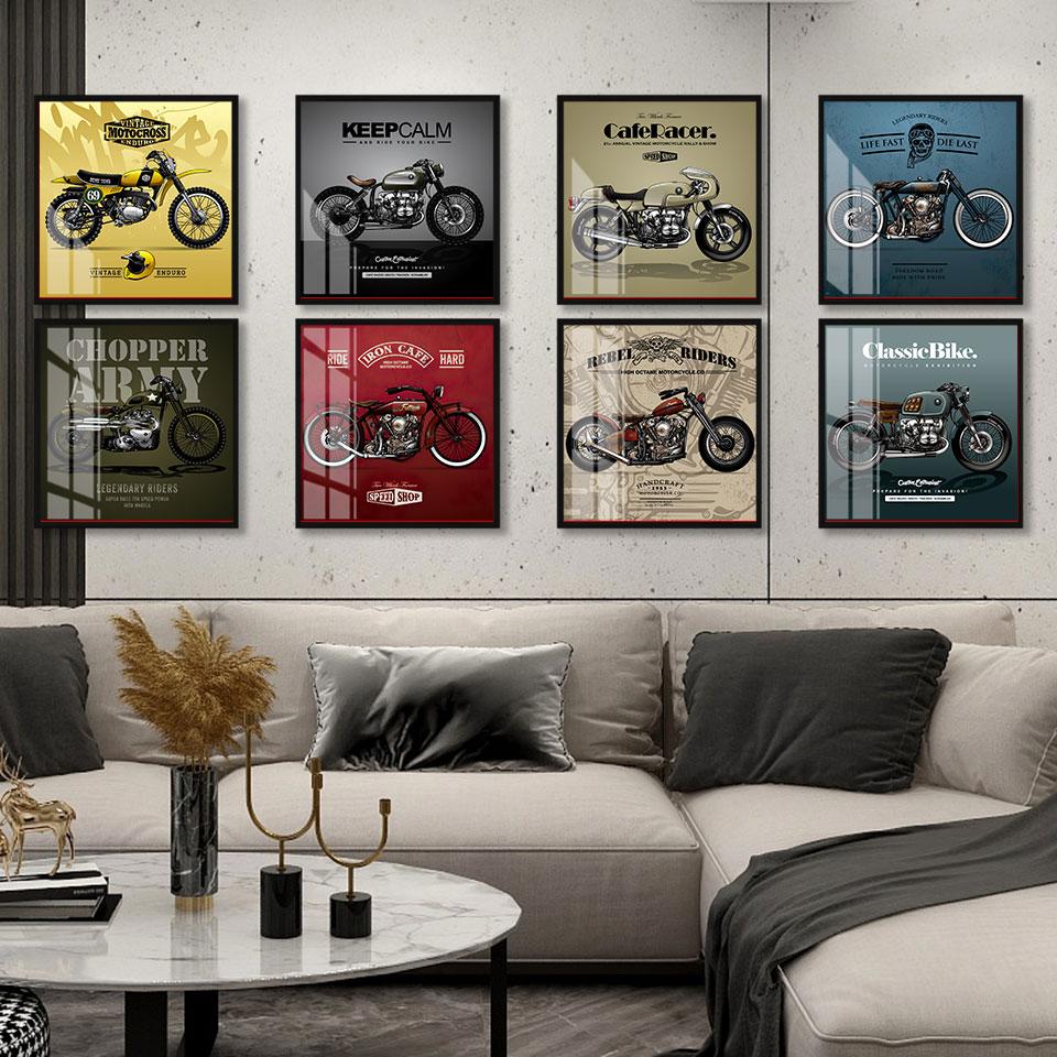 Plakat w stylu Vintage klasyczny w kształcie motocykla na płótnie malarstwo Nordic Wall Art druk kosztorys obraz do salonu na ścianie wystrój domu