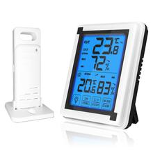 Indoor And Outdoor Thermometer Wireless Temperature And Humidity Monitor Touch Electronic Weather Clock Hygrometer electronic hygrothermostat etf 012 temperature and humidity adjustable hygrothermostat