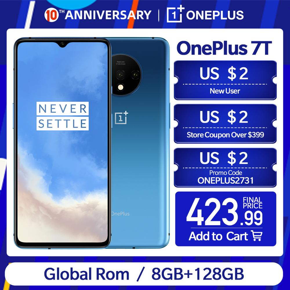 In Stock OnePlus 7T New Global ROM Snapdragon 855 Plus Smartphone 6.55'' AMOLED Display 90Hz  48MP Triple Cam 30W Charge NFC