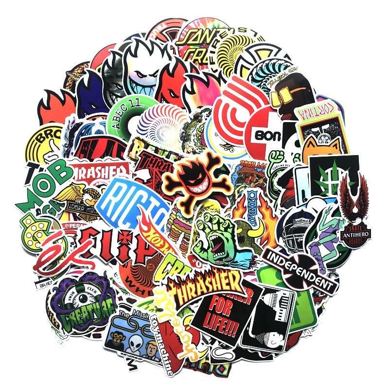 100 Классные модные наклейки для скейтборда, чемоданов, скейтбордов, ноутбуков, чемоданов, холодильников, телефонов, Стайлинг автомобиля, нак...