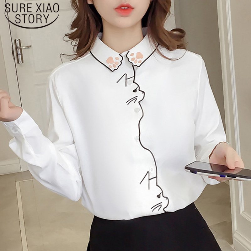 Padrão de Manga longa Bordado Mulheres Blusas Camisa Outono Camisa Branca Feminina Camisa Mulheres Encabeça Menina de Escritório Camisa Blusa Feminina 7902 50