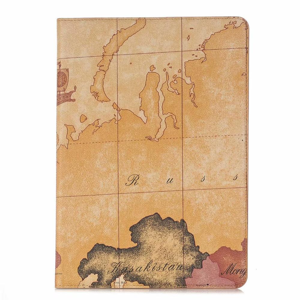 Brown MULTI Luxury Folio Coque for iPad 7th 10 2 Case Crocodile Map PU Card Slot Stand A2198