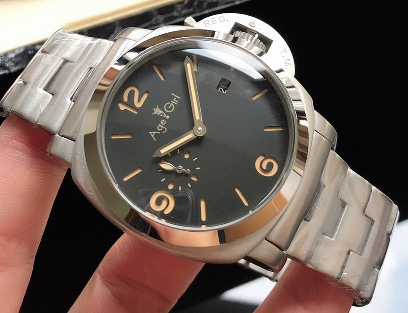 Brand New Men Automatic Mechanical Sapphire Bracelet Stainless Steel Black DIal White Number Limited Luminous Sport Watches 44mm