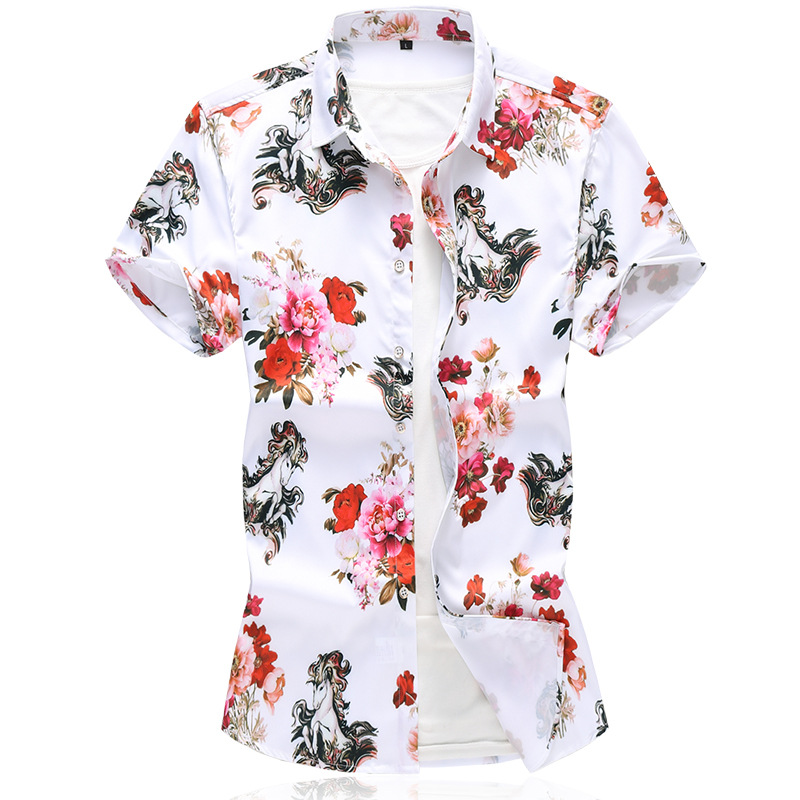 New Style Summer Men's Printed Shirt Large Size Men's Korean-style Floral Shirt Short Sleeve