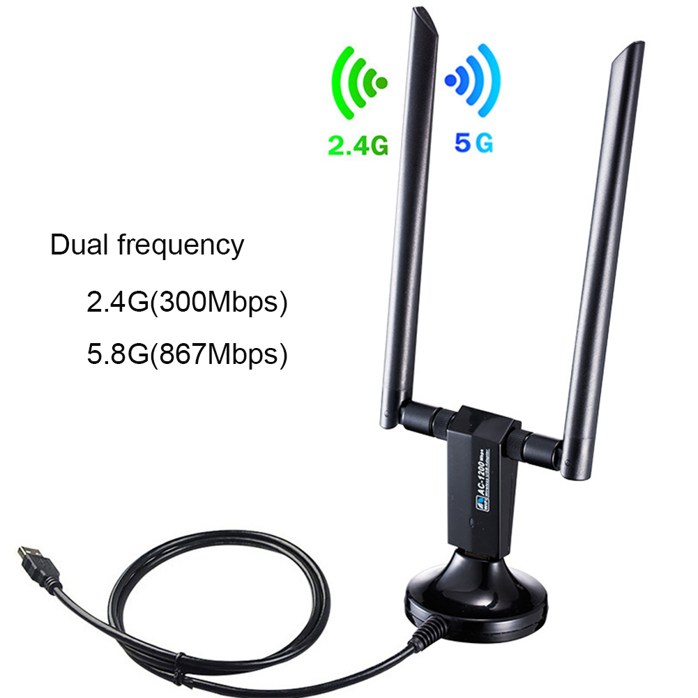 IEEE 802.11AC 2.4GHz 5GHz With Antenna Wifi Adapter Network Card 1200Mbps LAN Ethernet External USB Wireless Dual Band Dongle image