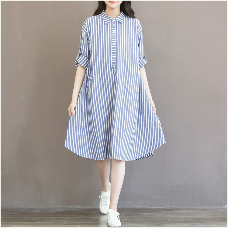 2019 Early Autumn New Style Korean-style Large Size Fat Mm Loose-Fit Mid-length Stripes Cotton Linen Dress Base Chen Yi Qun Wome