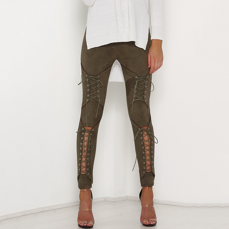 New Suede Leather Pencil Pants Lace Up Cut Out Fashion Trousers For Women Sexy Bandage Legging Pants Lace-Up Women's Pants