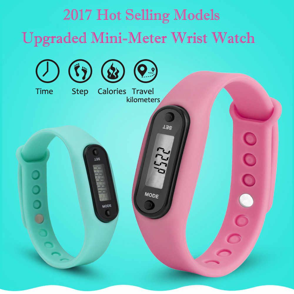 シリコーンフィットネス腕時計実行ステップ腕時計歩数計カロリーカウンター Lcd デジタル男性時計の女性のブレスレット腕時計電子腕時計