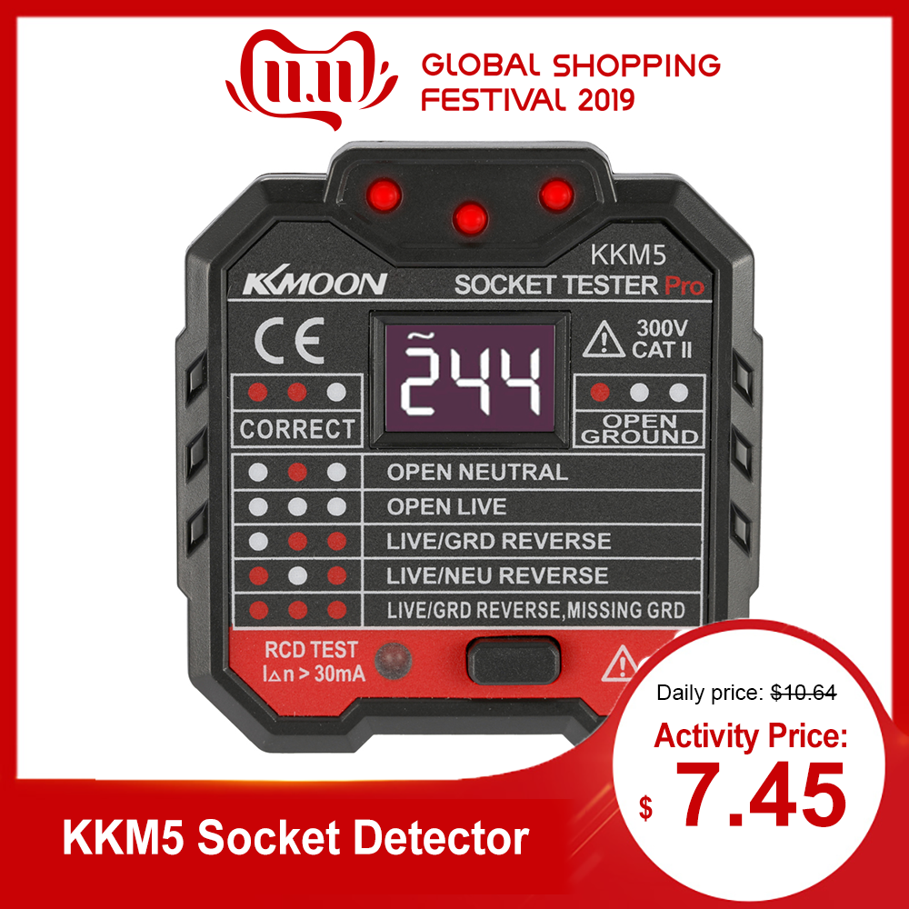 KKmoon KKM5 Digital Display Socket Detector Power Socket Wiring Detection Wall Plug Breaker Finder RCD Test Socket Tester