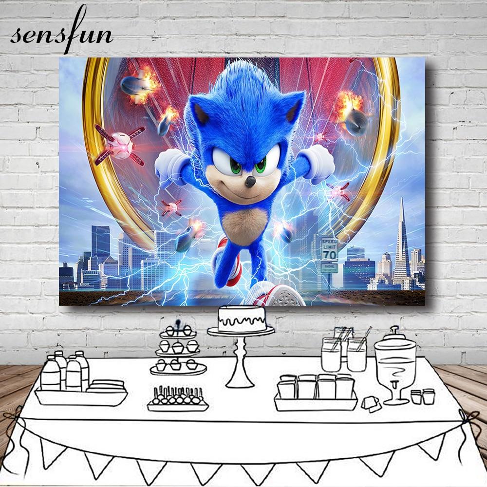 Sensfun 8 вариантов мультфильм Синий звуковой Ежик фон для фотостудии мальчиков день рождения фотографический фон на заказ