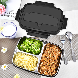 Image 5 - Portable 304 Stainless Steel Bento Box with 3 Compartments Lunch Box Leakproof Microwave Heating Food Container Tableware Adults