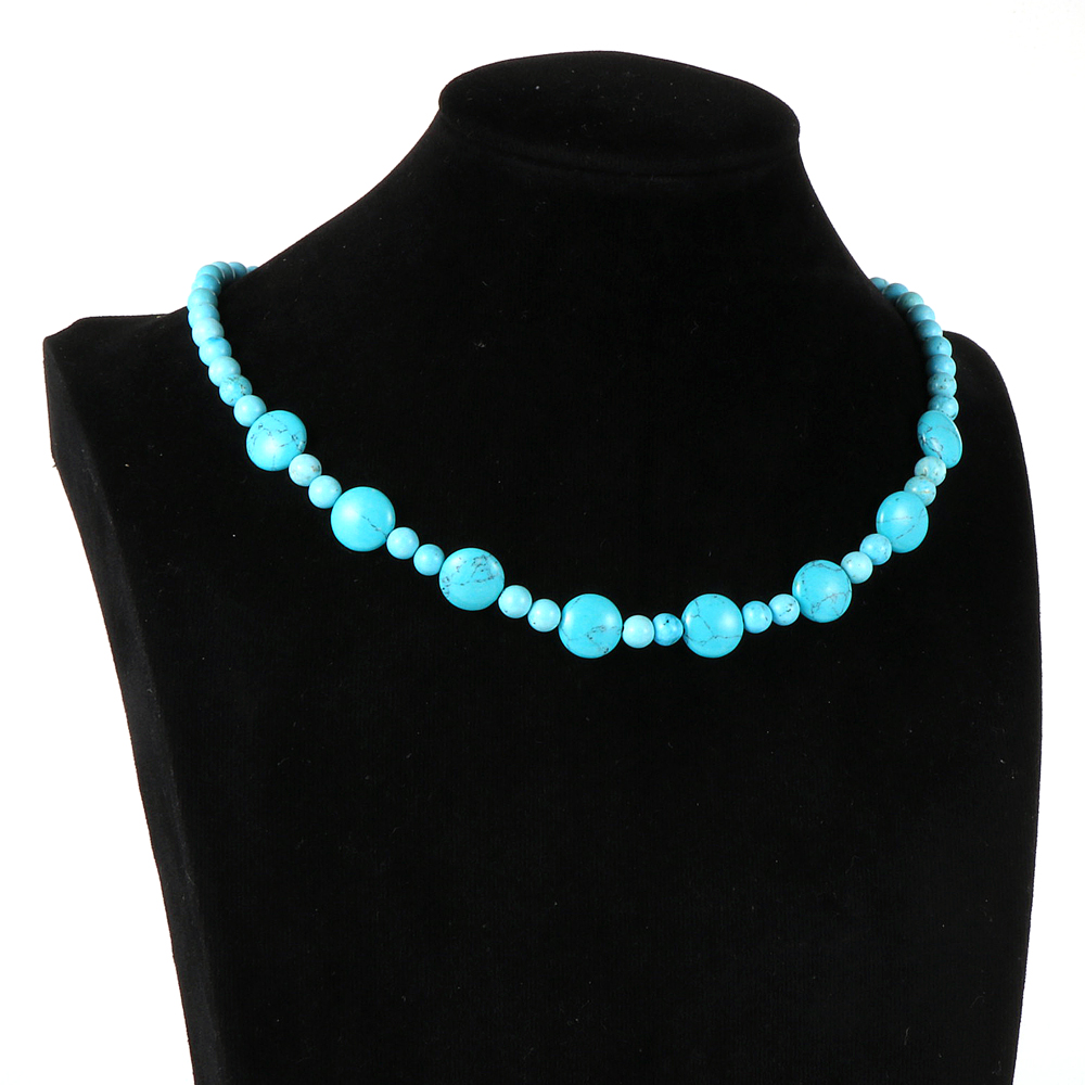 Women Natural Stone India Onyx Crystal Turquoises Round Beads Necklace Alloy Magnetic Buckle Choker Clavicle Chain Party Jewelry