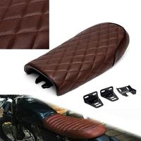Motorcycle Seat Brown Black Flated Saddle Seat Universal Vintage Cafe Racer For Honda CB CG Yamaha Suzuki Moto Selle Cafe Racer