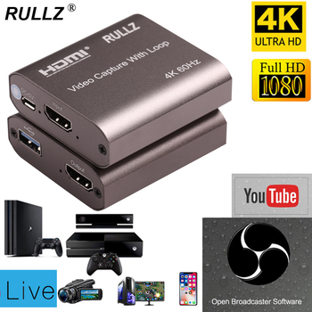 4K 60hz Loop Out HDMI Capture Card Audio Video Recording Plate Live Streaming USB 2.0 3.0 1080p Grabber for PS4 Game DVD Camera