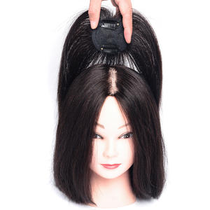 Hair-Air-Bangs Topper Human-Hair Clip-In-Extensions Brown Indian Black Closure Middle-Part