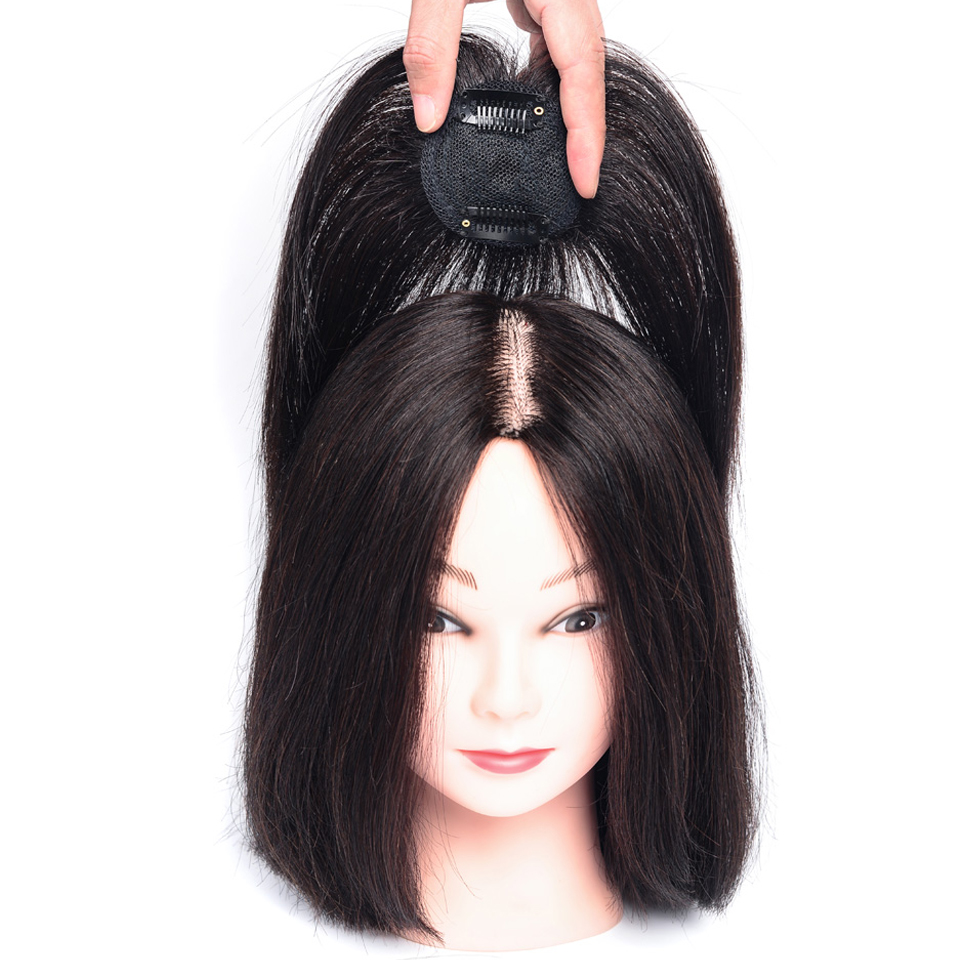 Salonchat Remy Long Straight Hair Air Bangs Black Brown Hairpin Bangs Human Hair Topper Clip In Extensions Middle Part Closure