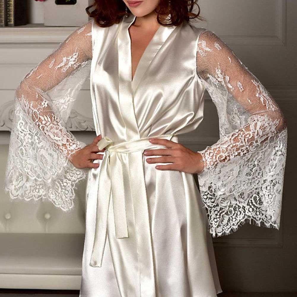 Sexy  For Women Satin Nightdress Long Sleeve Solid V-neck Lingerie Babydoll Night Gown Women Lace Sleepwear Bathrobe