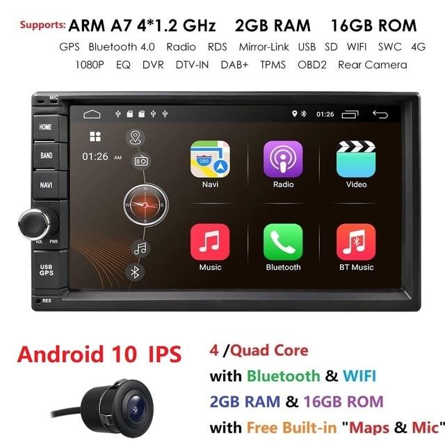 2019 Android10.0 2DIN evrensel araba NO DVD OYNATICI otomobil radyosu dört çekirdekli 7 inç GPS Stereo ses kafa ünitesi destek DAB DVR OBD BT