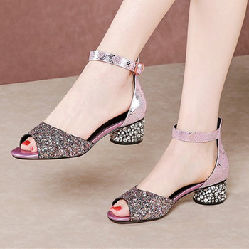 Summer New Euro Style Fashion Casual Women Cow Leather Sandals Open Toe Thick Heel Ankle Strap Shoes Woman