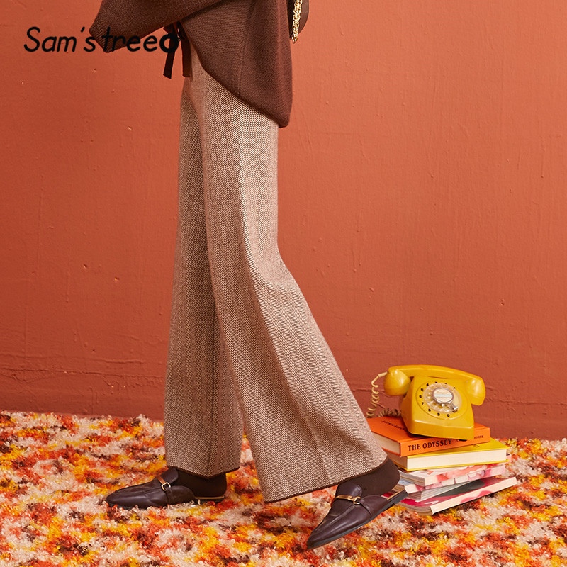 SAM'S TREE Chevron Vintage Korean Style Knitted Women Wide Leg Pants 2019 Winter Drawstring Elastic Waist Casual Female Trouser