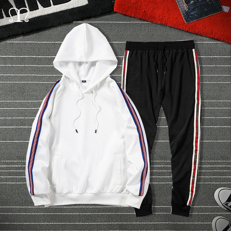 Striped Men Sportswear Sets Spring Autumn 2020 Hip Hop Tracksuit Men Two Piece Suit Hoodies Sweatshirt + Pants Male Track Suit