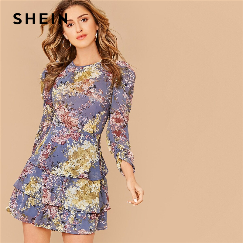 SHEIN Allover Botanical Print Gigot Sleeve Layered Hem Chiffon Dress Women Spring O-neck High Waist Short A Line Boho Dresses