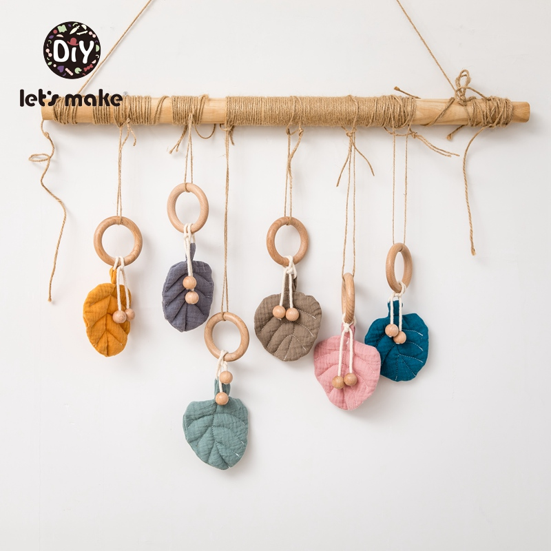 Let's Make Baby Toys 0-12 Months Wooden Rattles For Newborns 1PC Leaves Plant Cotton Musical Wood Ring Mobile On The Bed Bell