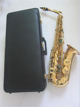 Wysokiej jakości yas82Z yas875 yas62 Model profesjonalny saksofon altowy E płaskim elektroforezy złoty instrumenty muzyczne i twarde pudełko tanie i dobre opinie Spada dostroić e (f) Bakelitu Mosiądz