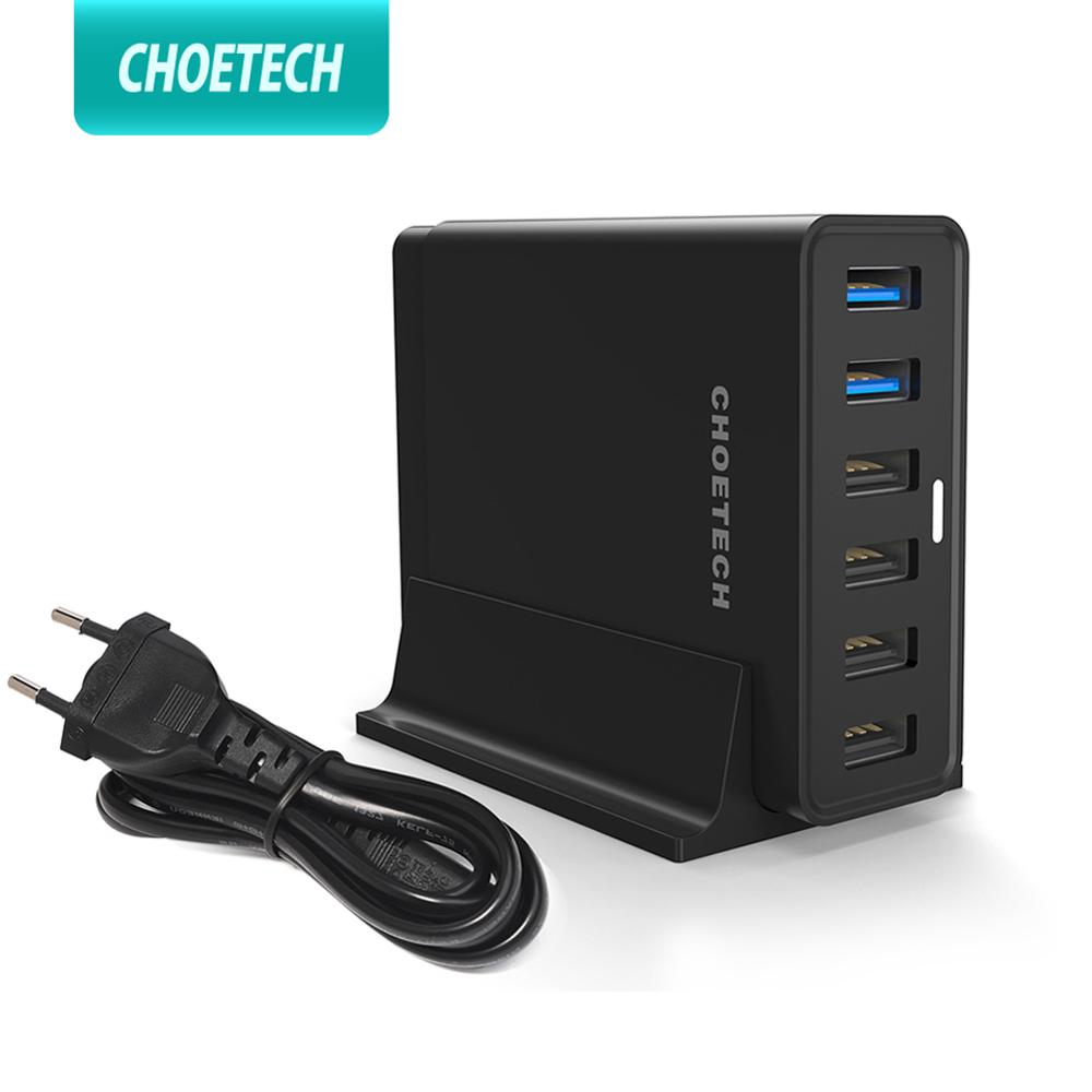CHOETECH 5 Port USB 60W PD oplader HUB Multi USB Ladestation Dock Universal Mobiltelefon Desktop Wall Hjem EU UK Plug