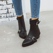 Plus Size 34-43 New Fashion European Style Ankle Boots Flats Round Toe Buckle Zip Boots PU Leather Women Shoes with Warm Plush plus size 34 43 fashion women boots with warm plush shoes spring autumn winter lace up punk flats round toe ankle martin boots