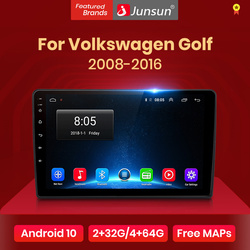 Автомагнитола Junsun V1 для Volkswagen Golf 6 10,0-2008, мультимедийный видеоплеер с GPS, dvd, Android 2016, типоразмер 2 din
