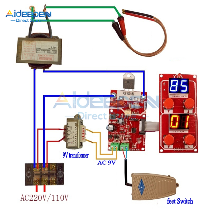 1Set NY-D04 100A 40A Dual Display Spot Welding Machine Control Board With AC 220V/110V To AC 9V Transformer Adjust Time Current