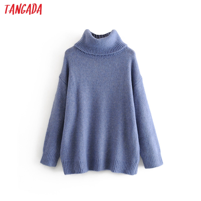 Tangada Women Oversize Turtleneck Sweaters 2019 Winter Long Sweater Coat Batwing Sleeve Loose Knitwear Top 3H90