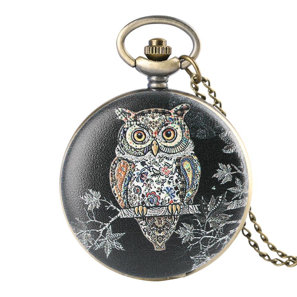 Art Designer 3D Owl Face Cover Colorful Quartz Pocket Watch Necklace Pendant Steampunk Jewelry Clock Hours Gifts For Men Women