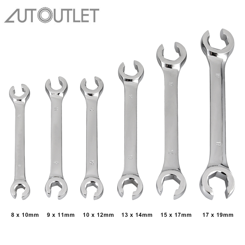AUTOUTLET 6Pcs Brake Line Wrench Open Ring Wrench Set 8-19 Mm For Dismantling Oil Pipes Wrench
