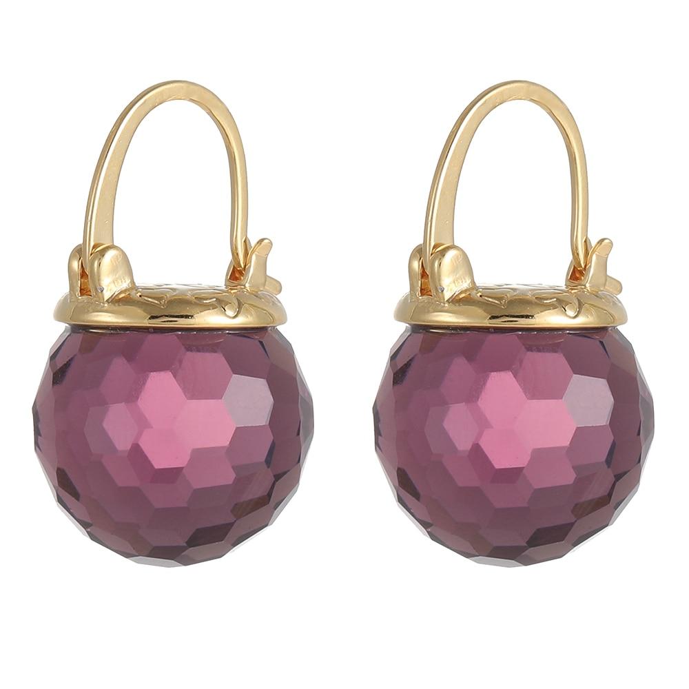 Purple Austrian Crystal Ball Heart Drop Earrings Wedding Party Accessories for Women 2020 New