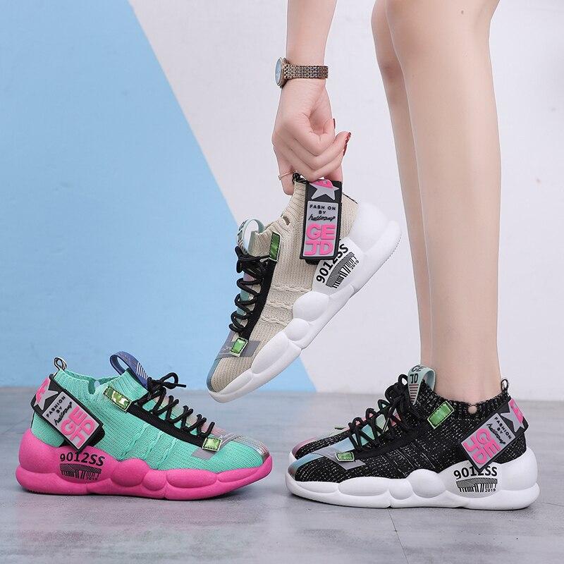 Новинка; сезон лето; женские кроссовки; коллекция 2019 года; сезон весна; дышащая обувь для отдыха с отражающей толстой подошвой