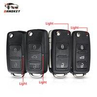 Dandkey-funda de llave de coche para VW, carcasa de control remoto plegable, 10 Uds., para VOLKSWAGEN, Tiguan, Golf, Sagitar, Polo, MK6, Passat B6